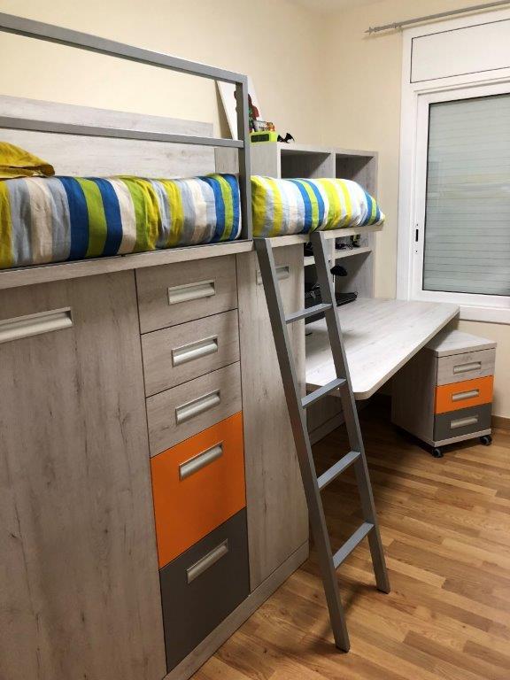 Dormitori Juvenil en laminat Roure Mozart, Taronja i Gris
